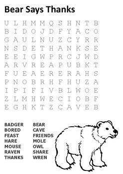 Bear Says Thanks Word Search