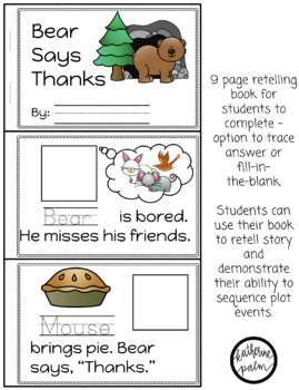 Bear Says Thanks - retelling visuals & sequencing book