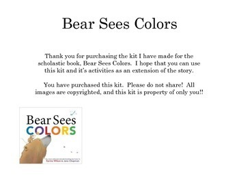 Bear Sees Colors Book Companion