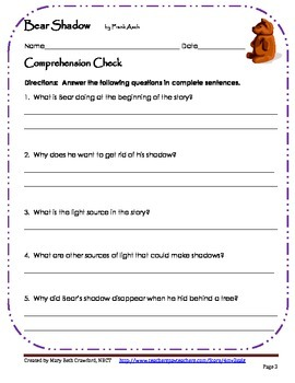 Bear Shadow {Comprehension and Skill Packet}