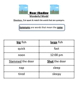 Bear Shadow- Guided Reading Packet