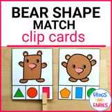 Bear Shape Match Clip Cards