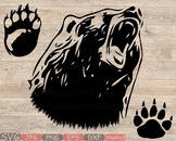 Bear Silhouette SVG Head face hunting Bear Claw paw dad mom baby papa 861S