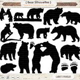 Black Bear ClipArt Silhouettes, Grizzly Bear, Polar Bears Paw Prints