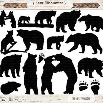 Bear Silhouettes, Black Bear, Grizzly Bear, Polar Bears, P