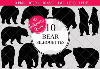 Bear Silhouettes Clipart Clip Art (AI, EPS, SVGs, JPGs, PNGs, PDF)