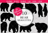 Bear Silhouettes Clipart Clip Art (AI, EPS, SVGs, JPGs, PN