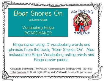 Bear Snores On - BOARDMAKER Bingo Game