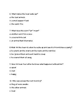 Bear Snores On Comprehension Test