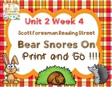 Bear Snores On - Print and Go  Unit 2 Week 4 Reading Street Kindergarten