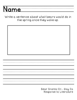 Bear Snores On, Reading Street, Differentiated Daily Write Worksheets
