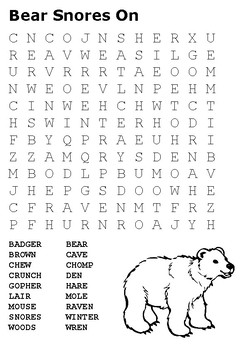 Bear Snores On Word Search