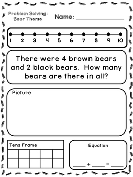 bear theme addition subtraction word problems kindergarten first. Black Bedroom Furniture Sets. Home Design Ideas