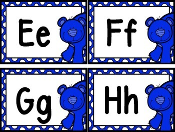 Bear Theme Word Wall Letters and 200 Fry Words (blue)