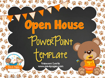 Bear Theme Open House ~ Back-to-School ~ PowerPoint Template {personalize it}