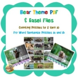 Bear Theme Puzzles Skip Counting 1-10 and Fry Words 1a and 1b Sentences