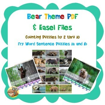 Bear Theme Puzzles Skip Counting 1-10 and Fry Words 1a and