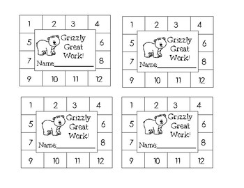 Bear Themed Behavior Punch Cards