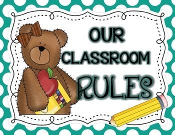Bear-Themed Classroom Rules Posters: Teal Polka Dot