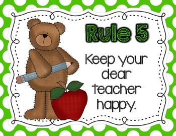 Bear-Themed Classroom Rules Posters: WBT