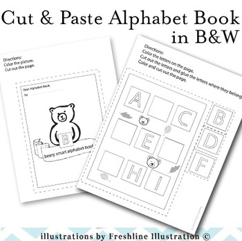 Bear Themed Cut and Paste Alphabet Book, Printable, Centers, Alphabet, Writing