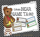 Bear-Themed Editable Name Tags for Desks
