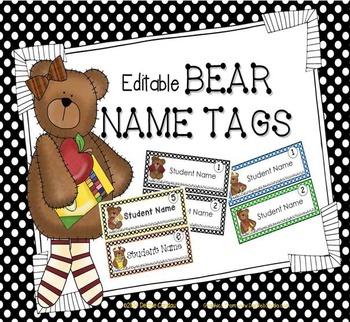 Bear-Themed Editable Name Tags for Desks