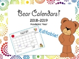 Bear Themed Monthly Calendars | Editable | 2018-2019 Academic Year