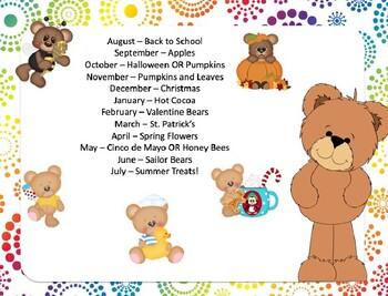 Bear Themed Monthly Calendars | Editable | 2019-2020 Academic Year