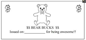 Bear Themed Prize Bucks