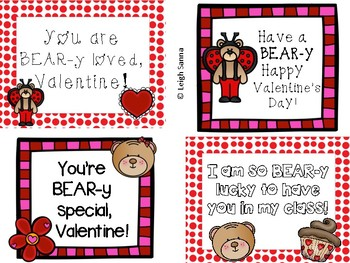 Bear Valentine Cards for Students