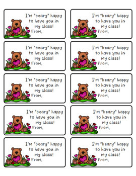 Bear Themed Valentine Student Gift tag