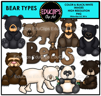 Bear Types Clip Art Bundle {Educlips Clipart}
