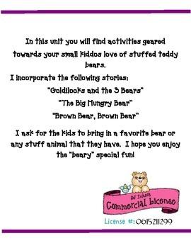 "Bear Units: Kindergarten is ""Beary"" Fun"