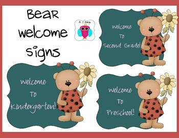 Bear Welcome Sign Set- Back to School Pre-K-6th