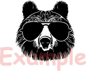 Bear Whit Glasses Silhouette SVG Momma mom mama bear dad daddy papa 884S