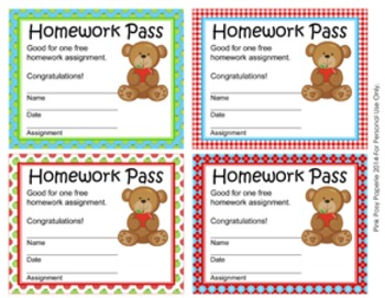 Bear With Apple Homework Passes