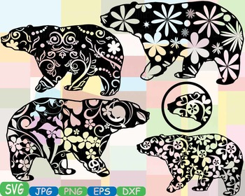 Bear Woodland Silhouette school Clipart zoo circus flower floral wood wild 367s