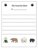 Bear Writing Paper