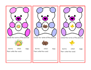 Bear Writing Words Pictures Egg Bunny Chick Spring Easter Task-Cards Reading 1pg