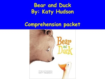 Bear and Duck Book Study, Used in Centers for Special and