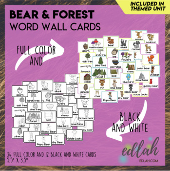 Bear and Forest Vocabulary Word Wall Cards (set of 33) - BUNDLE