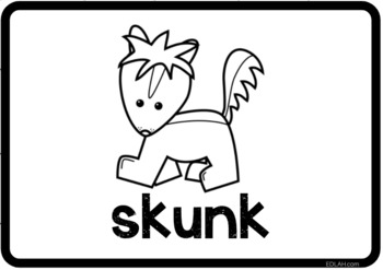 Bear and Forest Vocabulary Word Wall Cards (set of 33) - Black & White Version