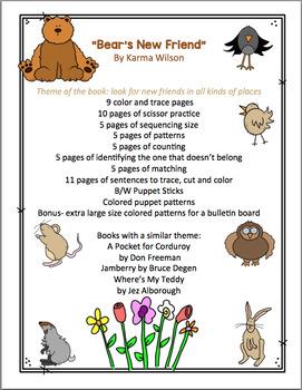 "Bear and Friends Book Unit ""No Prep"""