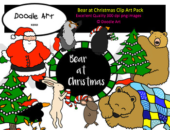 Bear at Christmas Clipart Pack