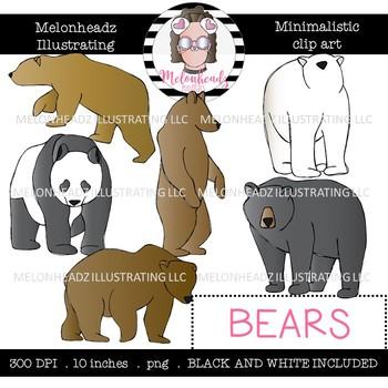 Bear clip art - Minimal Style - Mini - Melonheadz Clipart
