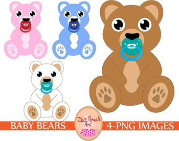 Bear cute children toy clipart png pink blue pacifier kid