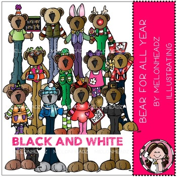 Melonheadz: Bear for all year clip art - BLACK AND WHITE
