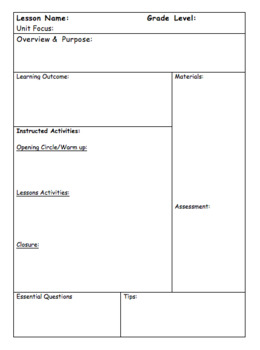 Early Childhood Physical Education Lesson Plan Template and Sample Lesson Plan