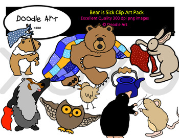 Bear is Sick Clipart Pack